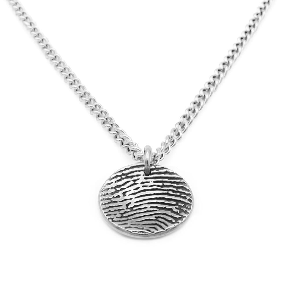"""Tender Touch"" Fingerprint Dome Necklace - Curb-Smallprint"