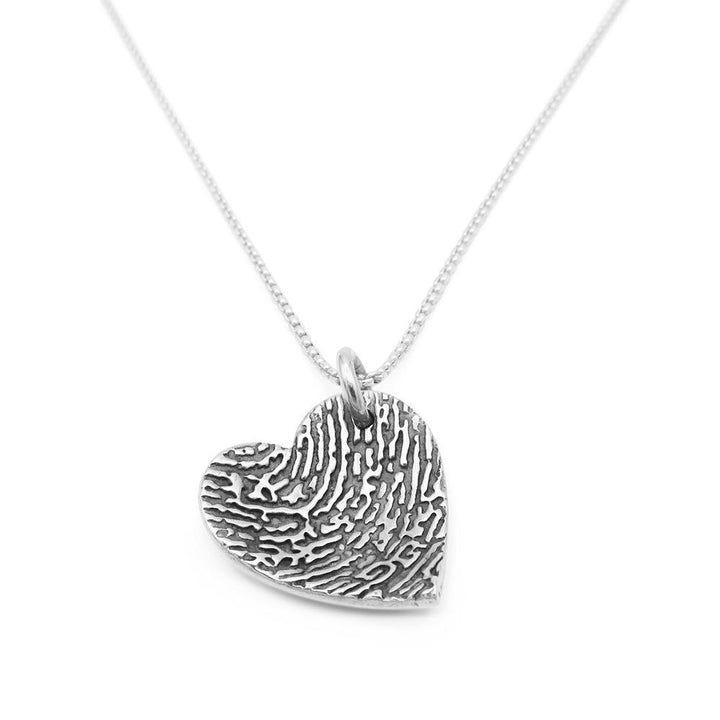 """Tender Touch"" Fingerprint Dome Necklace - Fine Silver Link-Smallprint"