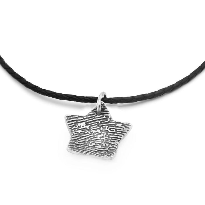 Star shaped dome fingerprint necklace with leather chain