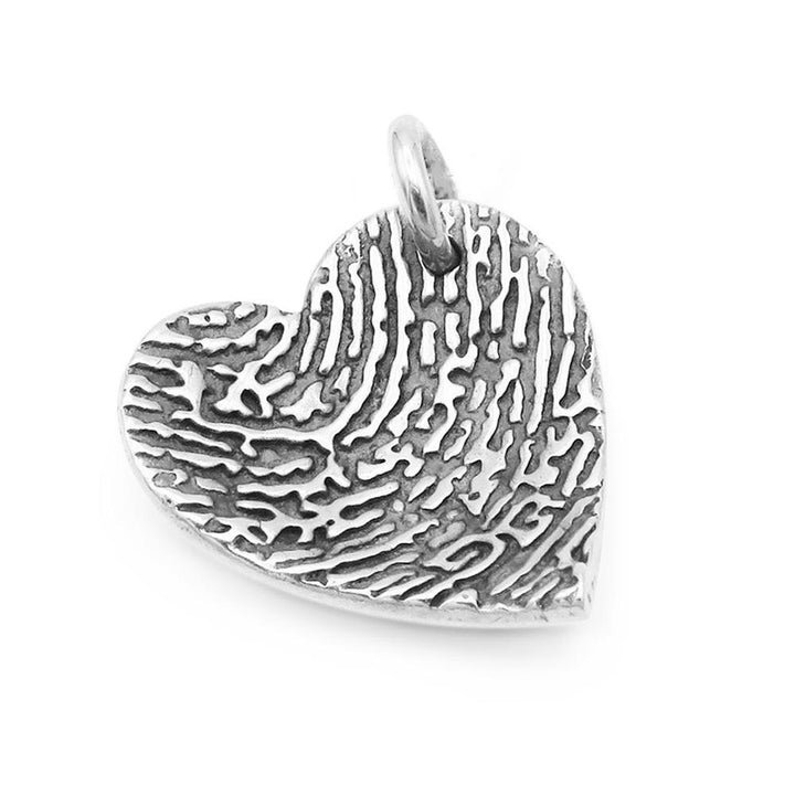 Heart dome shaped fingerprint pendant