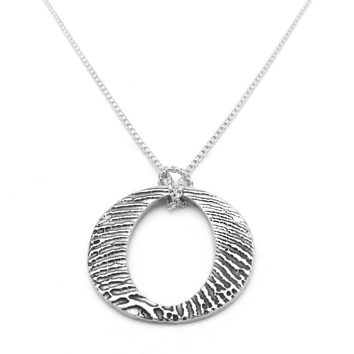 Circle fingerprint charm on sterling silver chain