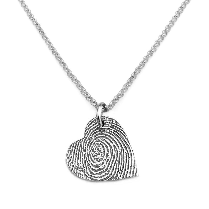 """Tender Touch"" Fingerprint Necklace - Fine Belcher-Smallprint"