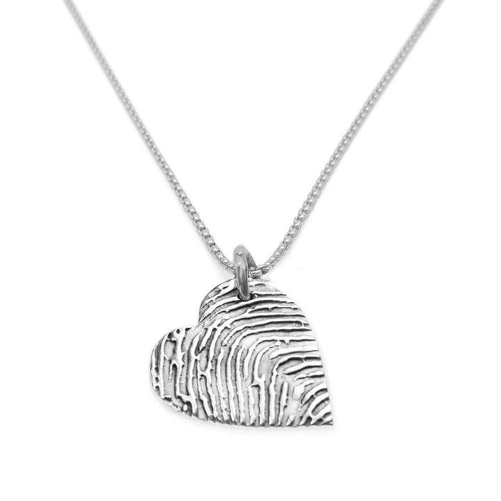 """Tender Touch"" Fingerprint Necklace - Fine Silver Link-Smallprint"