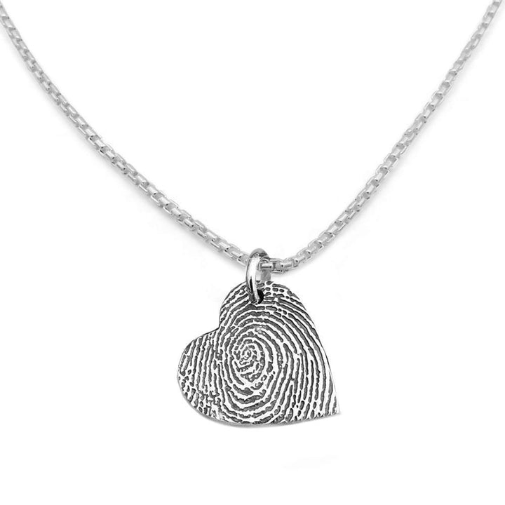 """Tender Touch"" Fingerprint Necklace - Silver Link-Smallprint"