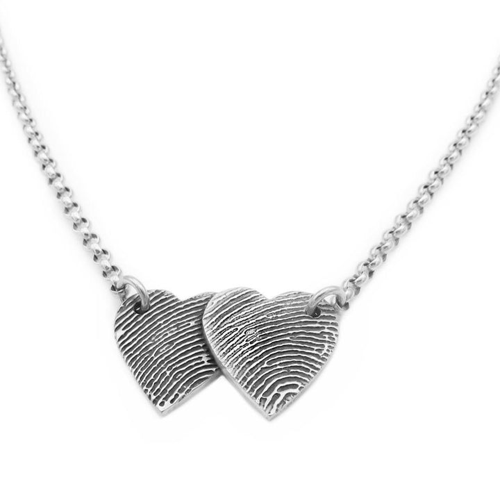 Two heart shaped sterling silver fingerprint necklace
