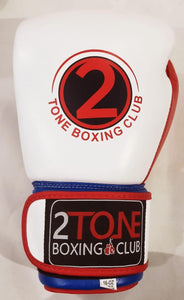 16 oz. Leather Gloves White/Blue/Red