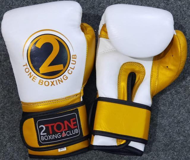 8oz. Leather Gloves White/Gold