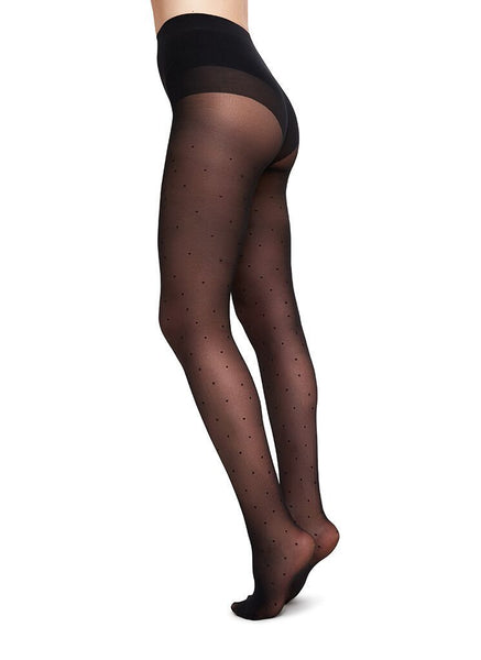 Swedish Stockings zero waste panty dots 40den zwart stippen Doris