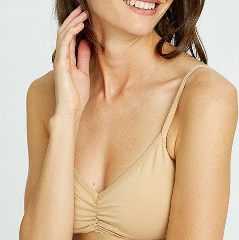Bralette van biologisch katoen in zwart, wit of nude People Tree soft bra top
