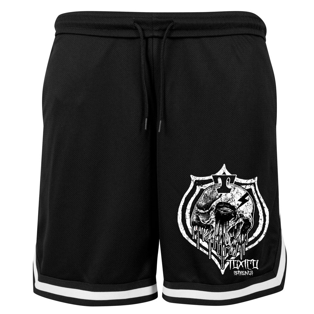 Skull Badge Mesh Shorts - Toxico Clothing