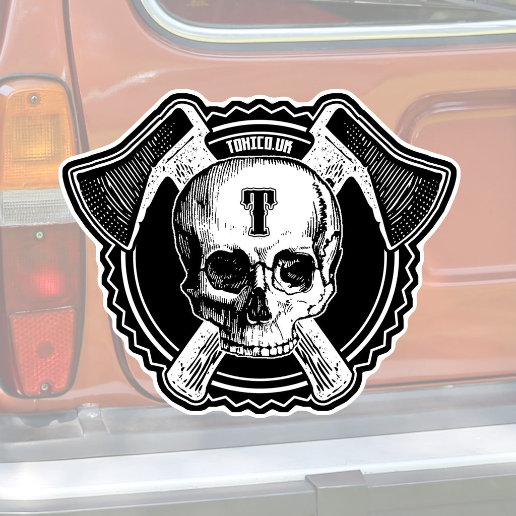 Axe Skull Sticker - Toxico Clothing