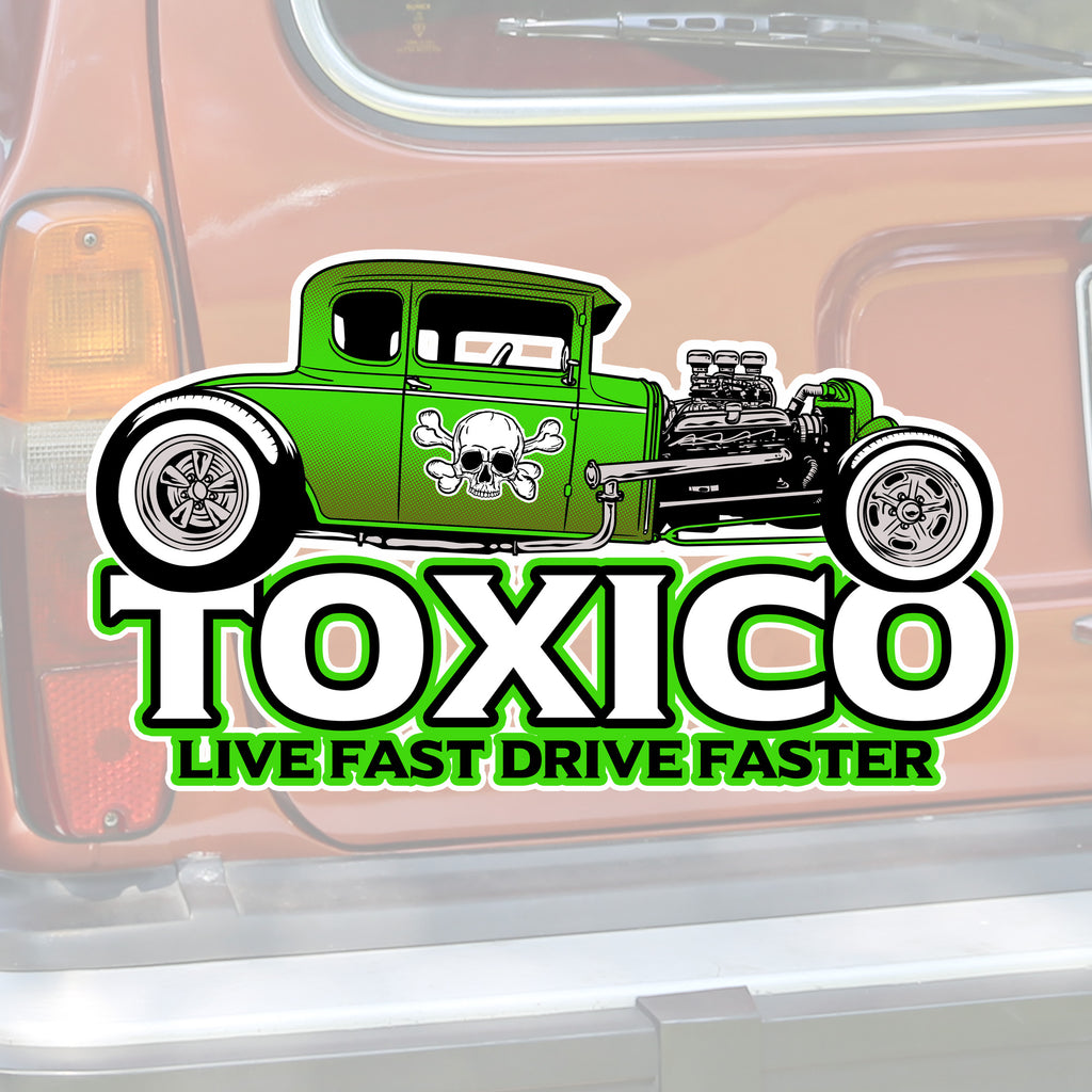 Hot Rod Live Fast Sticker - Toxico Clothing
