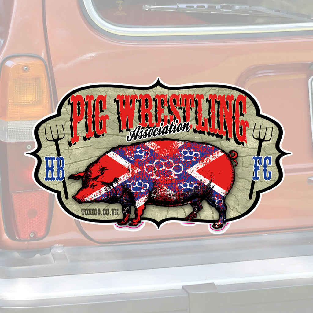 Pig Wrestling Sticker - Toxico Clothing