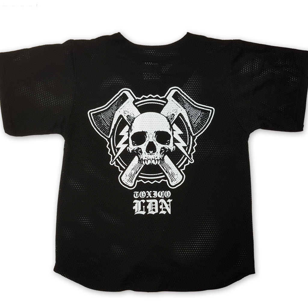 Axe Skull Button Up Jersey - Toxico Clothing