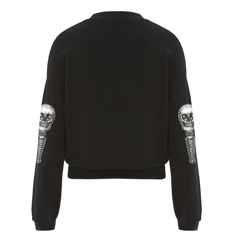 Butterfly Skull Crop Sweat - Toxico Clothing