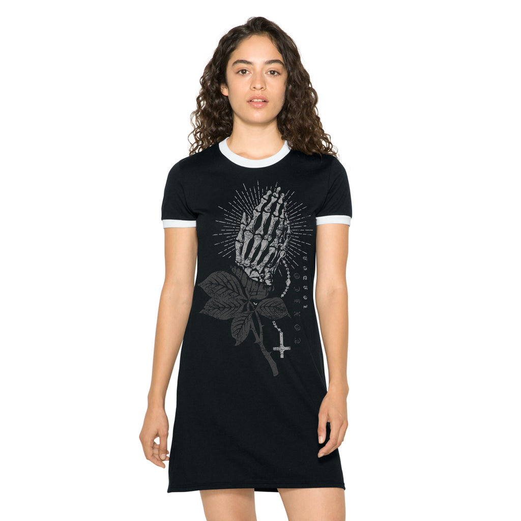 Praying Hands Ringer Tee Dress - Toxico Clothing