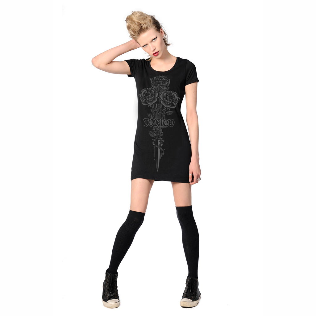 Rose & Knife Tee Dress - Toxico Clothing