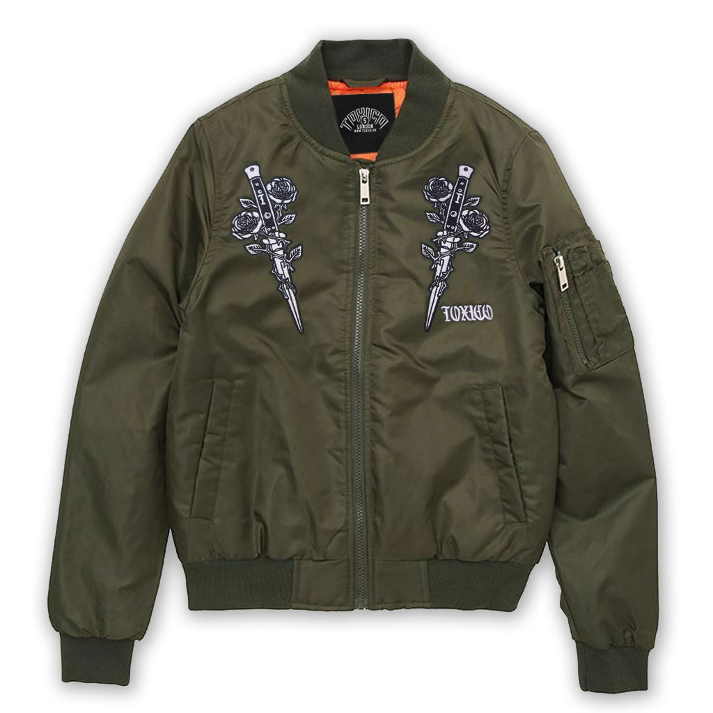 Rose & Knife Flight Jacket - Toxico Clothing