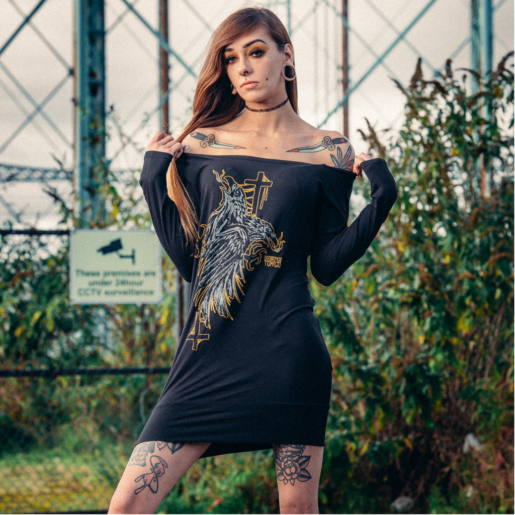 Crows Longsleeve Dress - Toxico Clothing
