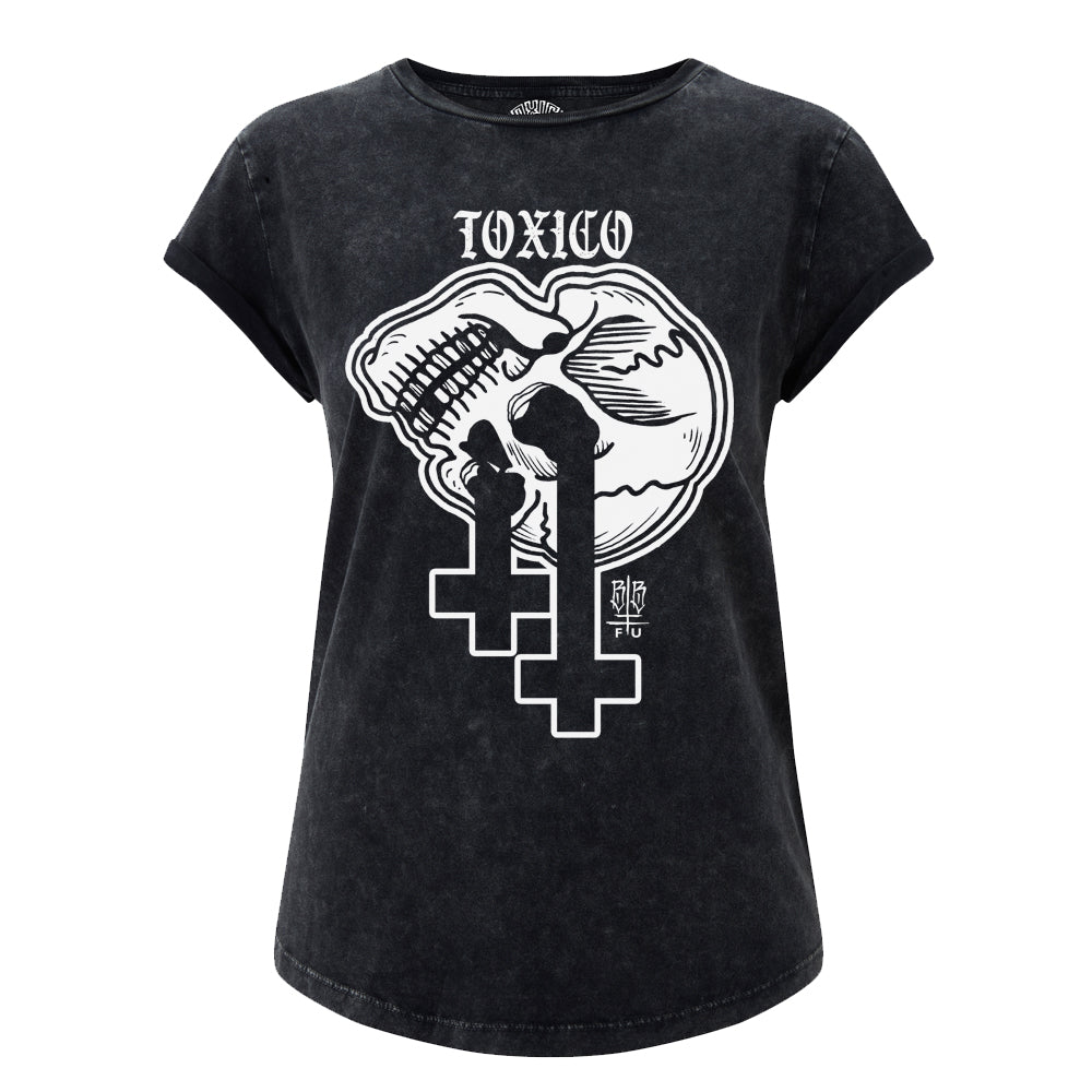 Skull Cross Rolled Sleeve Tee - Toxico Clothing