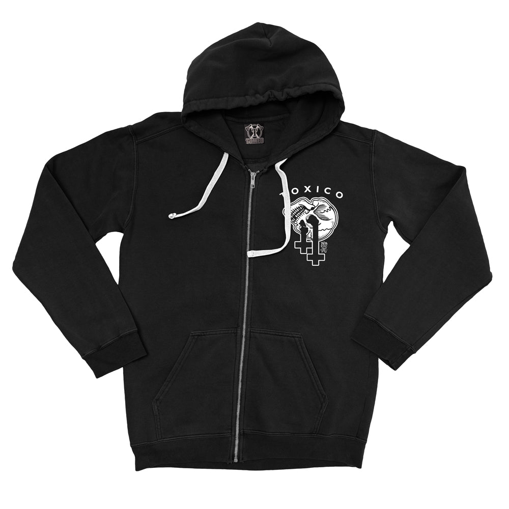 Skull Cross Zip Hood - Toxico Clothing