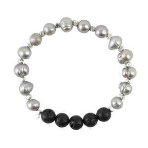 Silver Tinted Pearls + 6 Black Lava Beads