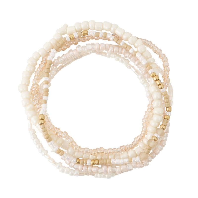 White Tones Seed Bead Stackable Bracelet Set