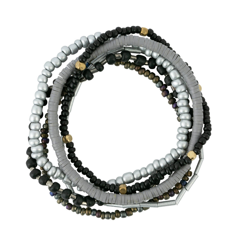 Black Tones Seed Bead Stackable Bracelet Set
