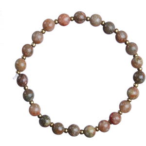 """Unakite"" 6mm Natural Stone Stretchy Bracelet"