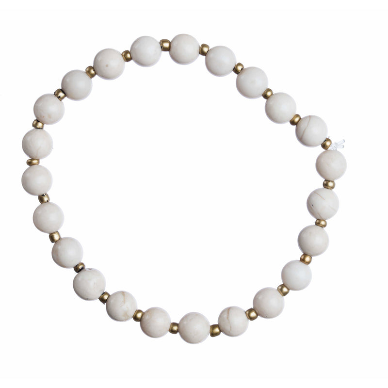 """Cream Stone"" 6mm Natural Stone Stretchy Bracelet"