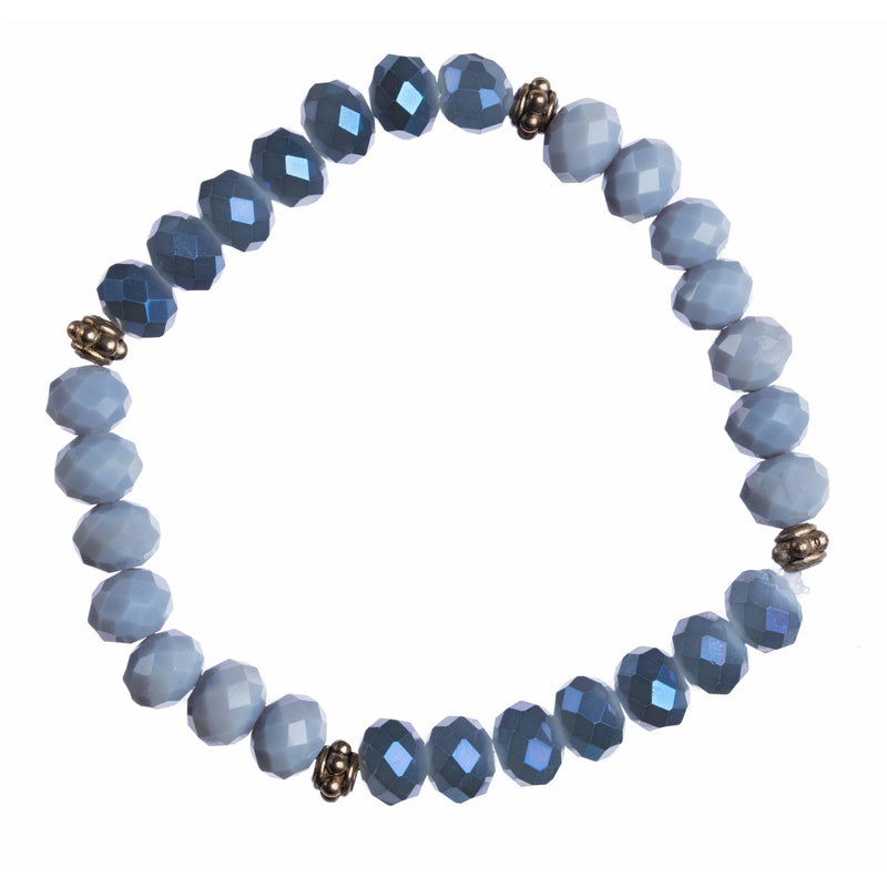 """Denim Blues"" 8mm Crystal Stretchy Bracelet"