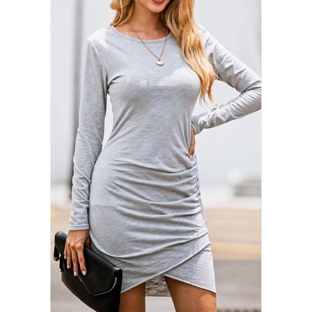 Gray Long Sleeve Ruched Dress