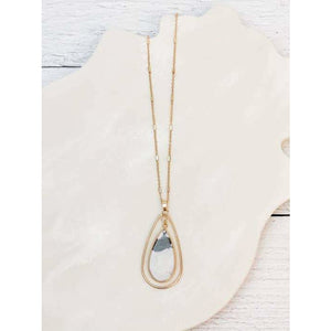 Long Oval Natural Stone Pendant Necklace - Marble