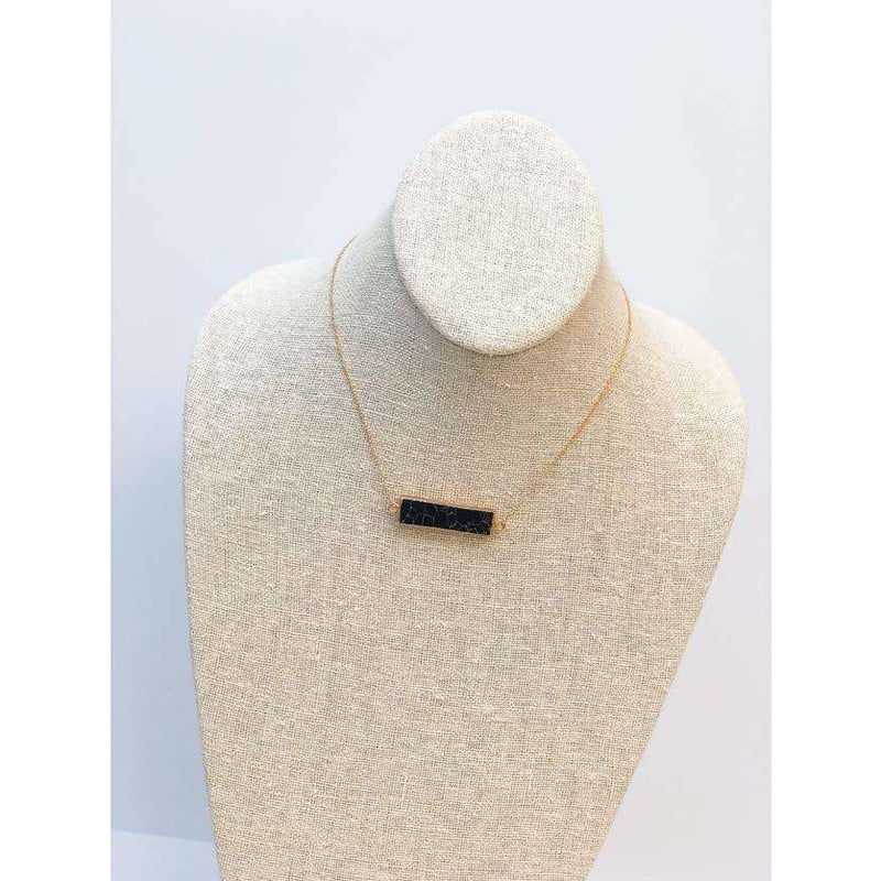 Semi Precious Stone Bar Pendant Necklaces