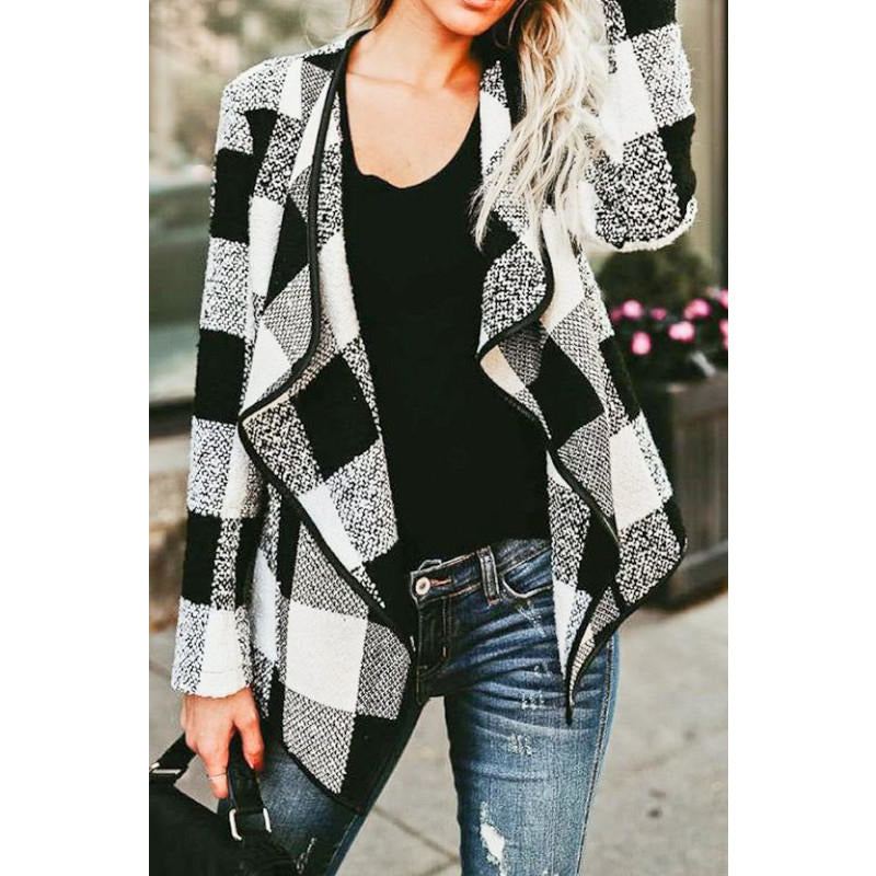 Wide Turn Down Collar Plaid Jacket