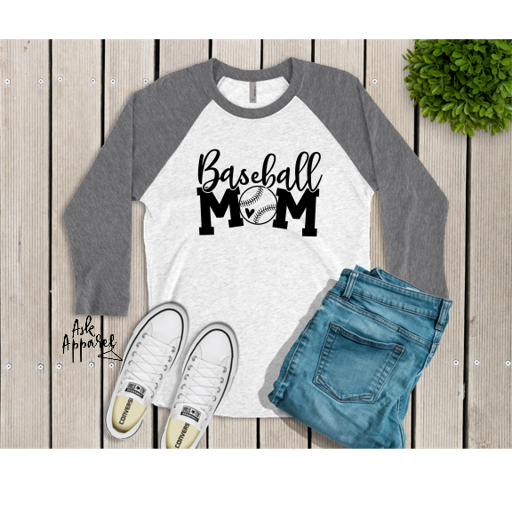 Baseball Mom 3/4 Sleeve Raglan T-Shirt - Lilac Clothing Company LLC