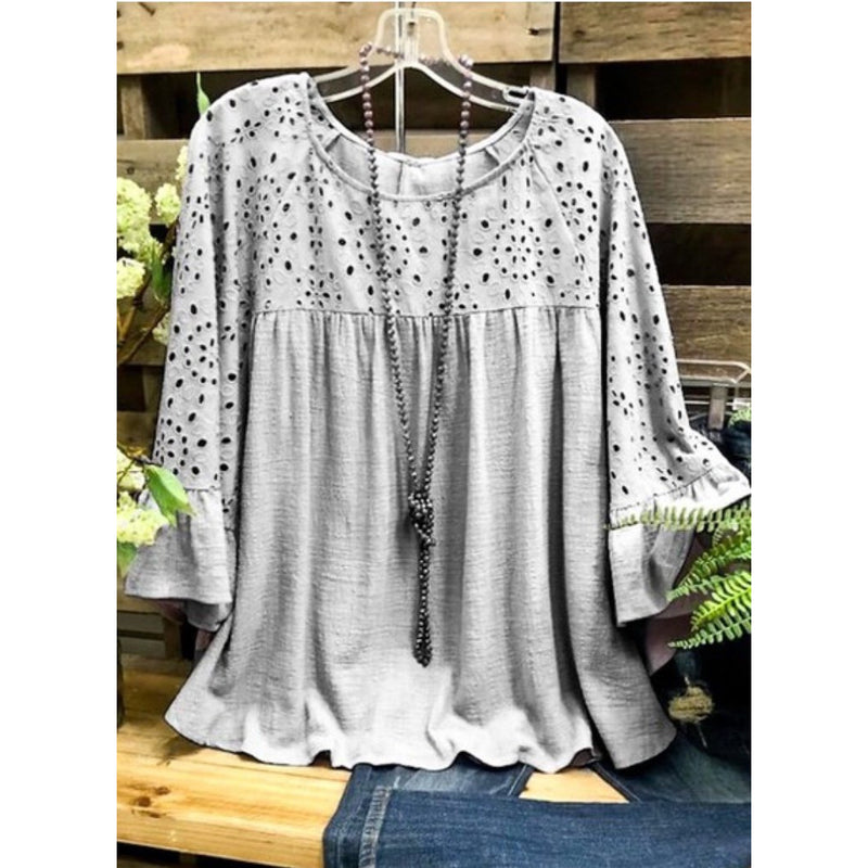 Eyelet grey ruffle sleeve top
