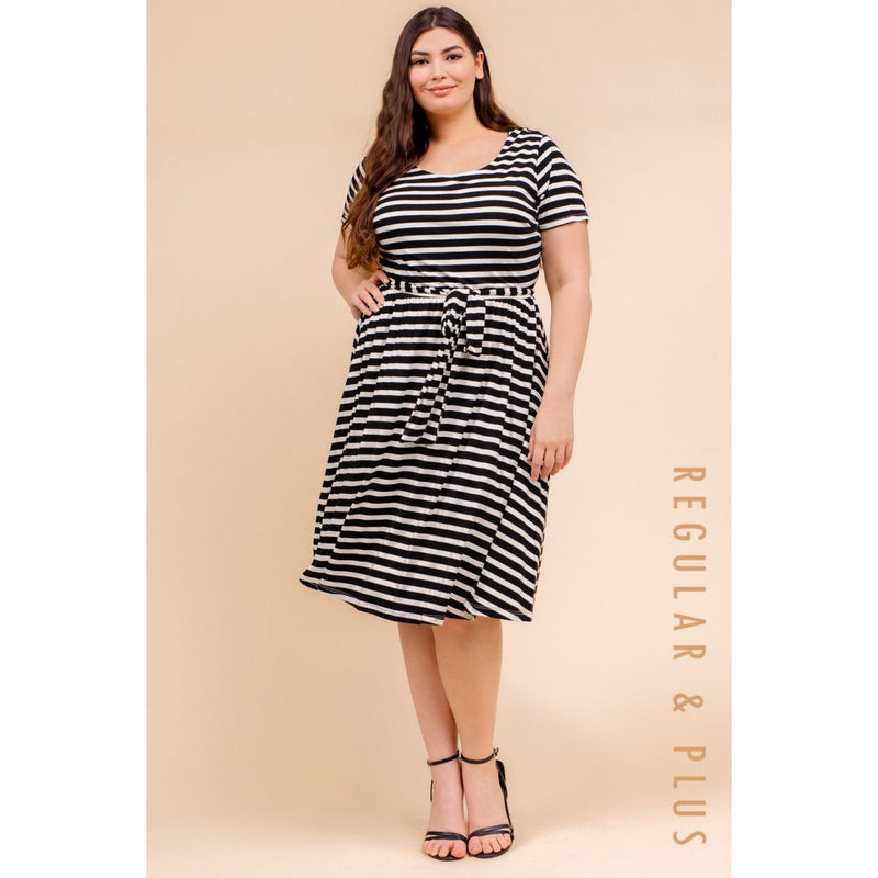 Plus Size Scoop Neck A Line Dress - Black & White Striped - Lilac Clothing Company LLC
