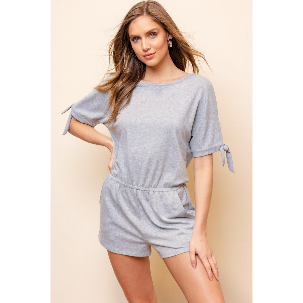 Gray Round Neck Knit Romper - Lilac Clothing Company LLC