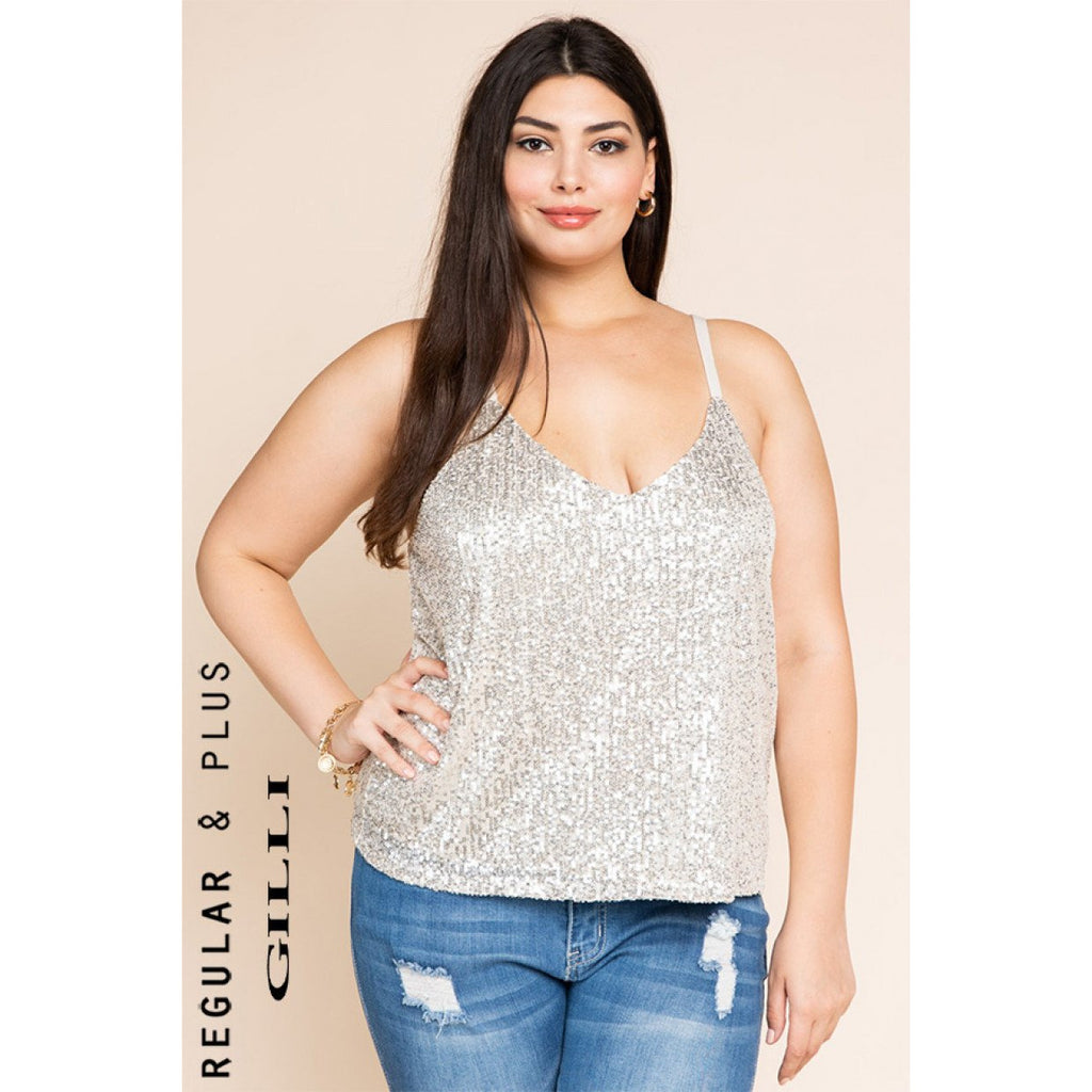 Sleeveless Sequin Cami tank - Plus Size - Lilac Clothing Company LLC