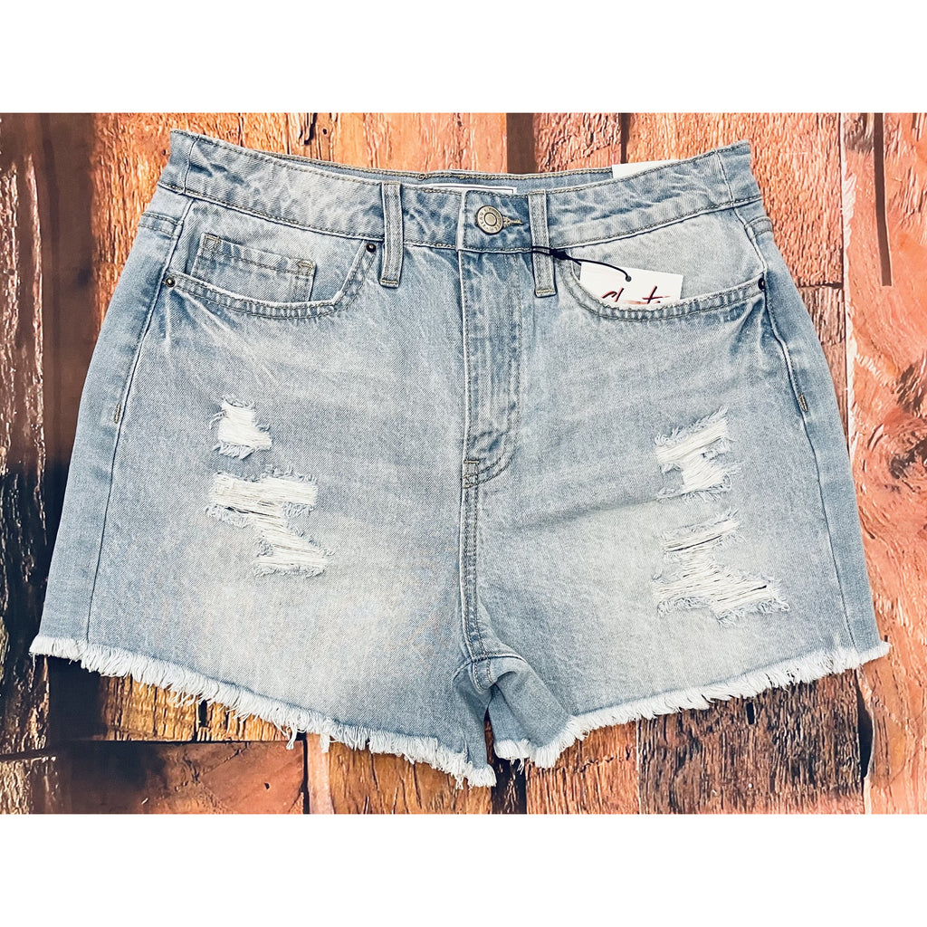 Frayed Light Wash Denim Shorts