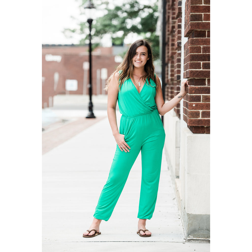 Super Soft Sleeveless Jumpsuits - Kelly Green