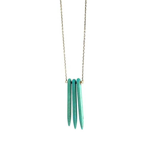 Turquoise Howlite Spiked Neckalce