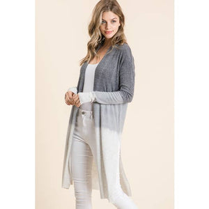 Tiger Brushed Rib Dip Dyed Duster - Lilac Clothing Company LLC