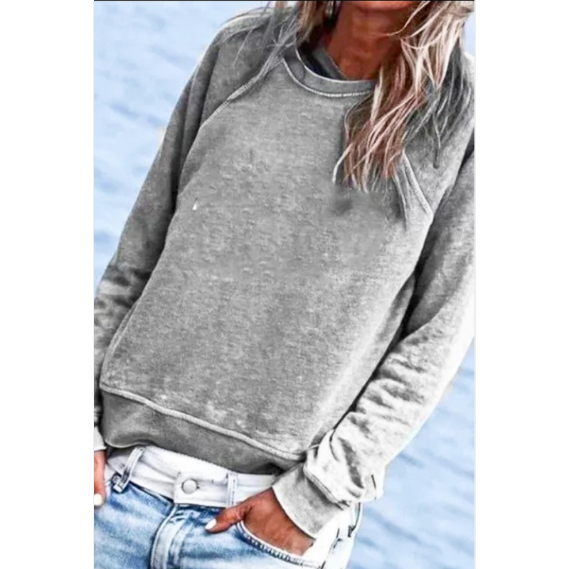 Crew Neck Washed Out Casual Top