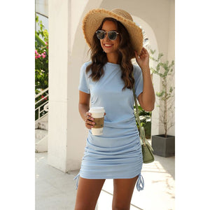 Copy of Crew Neck Dress - Blue - Lilac Clothing Company LLC