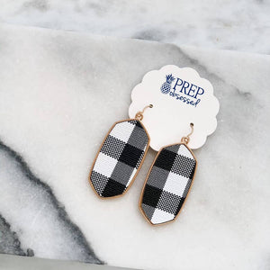 Oval Buffalo Check Dangle Earrings