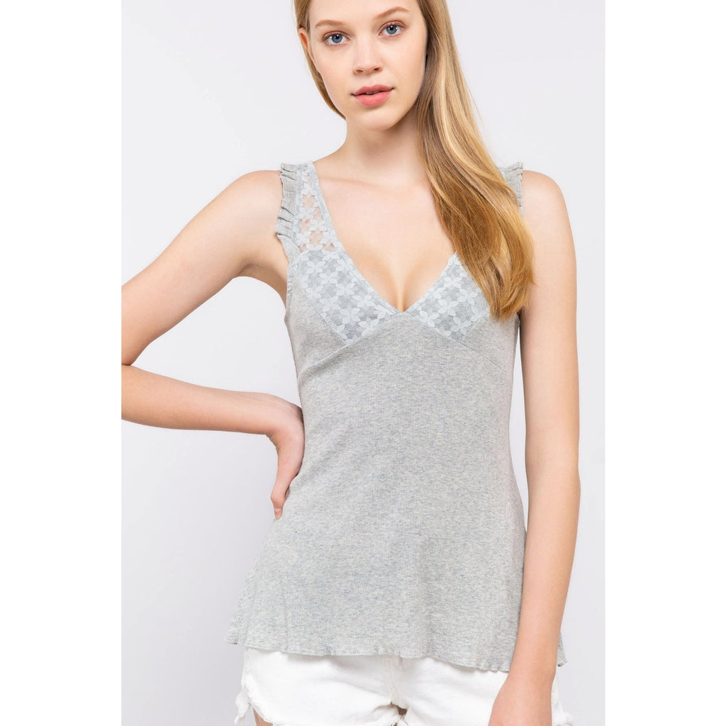 Lacy V Neck Tank Top - Lilac Clothing Company LLC