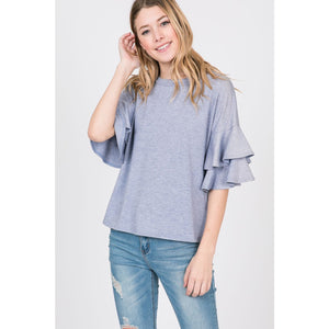 Ruffled Sleeve Top - Lilac Clothing Company LLC