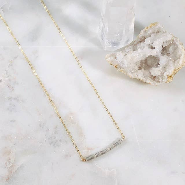 Dottie Grey Shell Bar Necklace